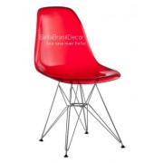 Cadeira Charles Eames Policarbonato Vermelho Base Cromado