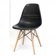 Cadeira Charles Eames Polipropileno Preto Base Madeira - DKR WOOD PRETA