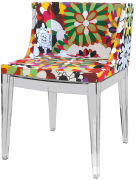 Cadeira Mademoiselle Base em Policarbonato Transparente e Tecido Margarida - Ponta de Estoque