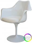 Cadeira Saarinen em ABS Branca com Braço e Base em Aluminio - Ponta de Estoque
