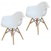 Kit 2x Cadeira Eames Daw PP Branca wood