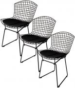 Kit 3x Cadeira Bertoia Tradicional Preta - Ponta de Estoque