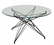 Mesa Estrela Quadrada Pequena Preta com tampo de vidro de 1,00mt - Ponta de estoque