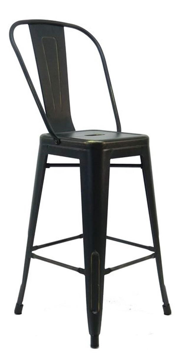 Banqueta Tolix Iron Antique com encosto Alto - Cadeira Alta