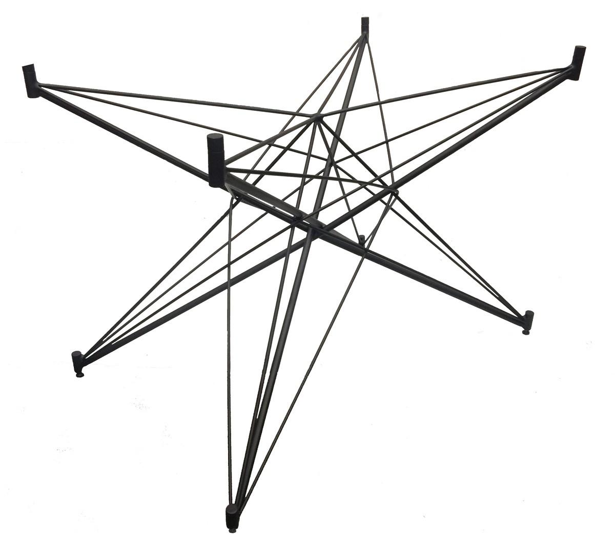 Base de Mesa Estrela Retangular Fosca Preta