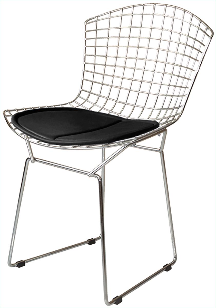 Cadeira Bertoia Tradicional Aço Inox 304 com Assento Preto - Ponta de estoque