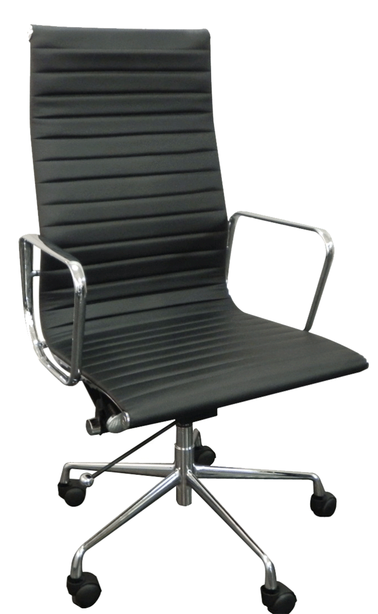Cadeira Charles Eames Office Esteirinha Corino Alta Aluminio