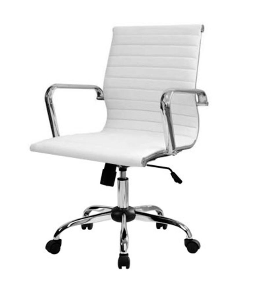 Cadeira Charles Eames Office Esteirinha Baixa em Courino