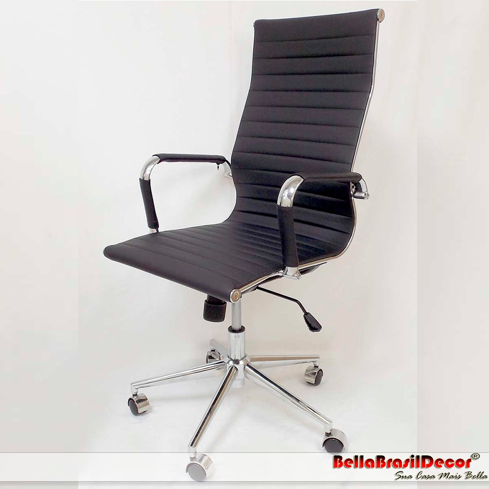 Cadeira Charles Eames Office Esteirinha Corino Alta - Aquece Black Friday