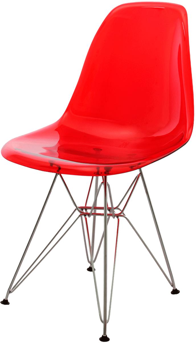 Cadeira Eames DSR Policarbonato Base Eiffel Cromada