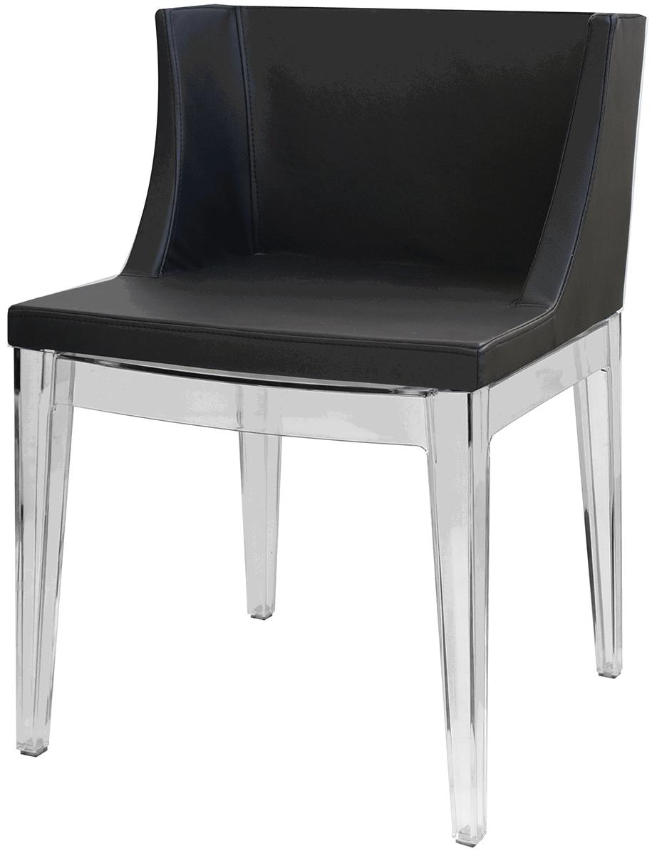 Cadeira Mademoiselle Base em Policarbonato Transparente e Assento Courino - Ponta de Estoque