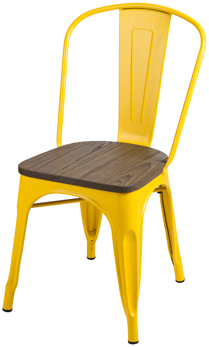 Cadeira Tolix Iron Assento Madeira