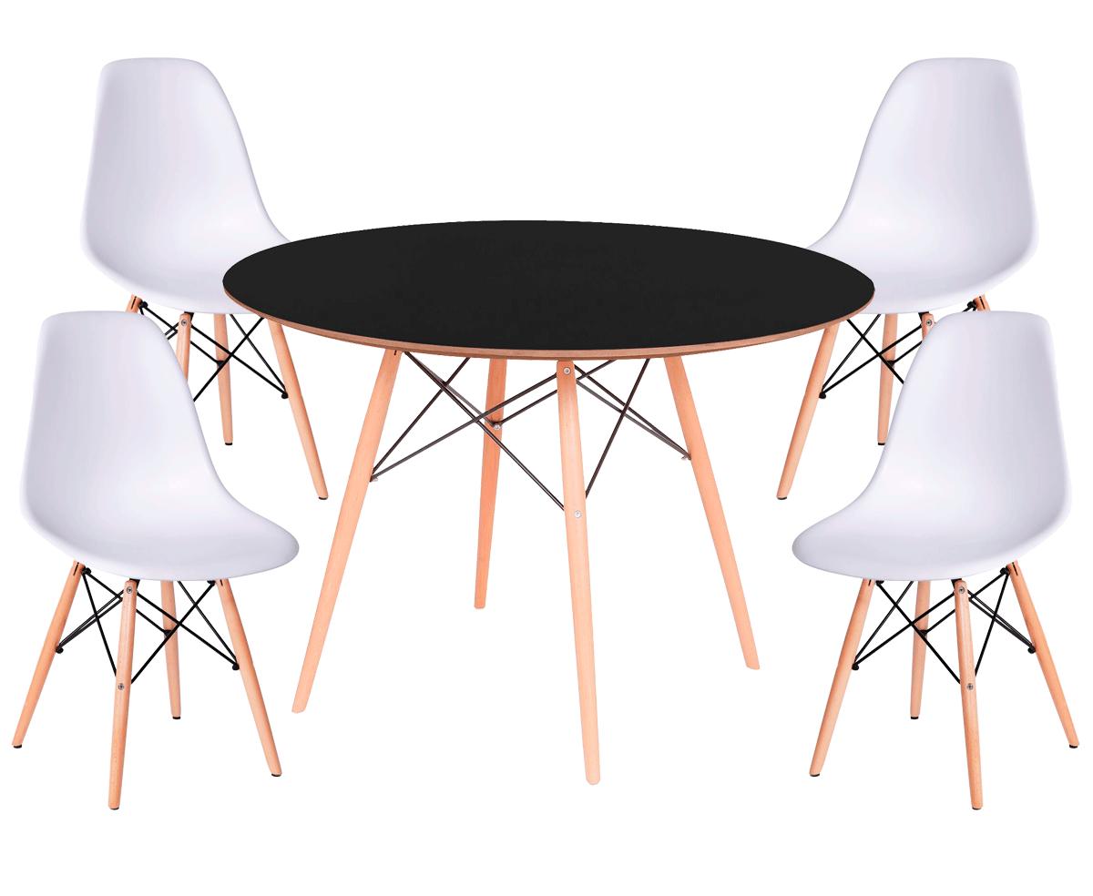 Kit Mesa Eames Wood Tampo de Madeira 120CM + 4 Cadeiras DSW Polipropileno