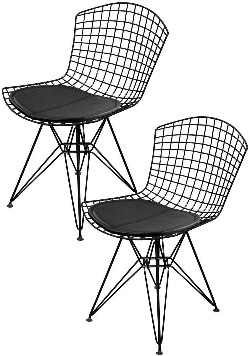 Kit 2x Cadeira Bertoia DKR Preta com Assento Preto - Ponta de estoque