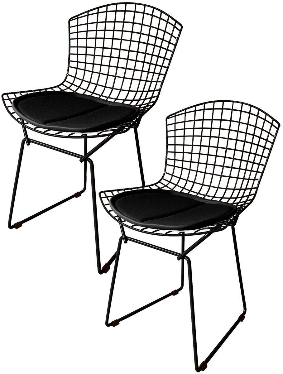 Kit 2x Cadeira Bertoia Tradicional Preta - Black Friday