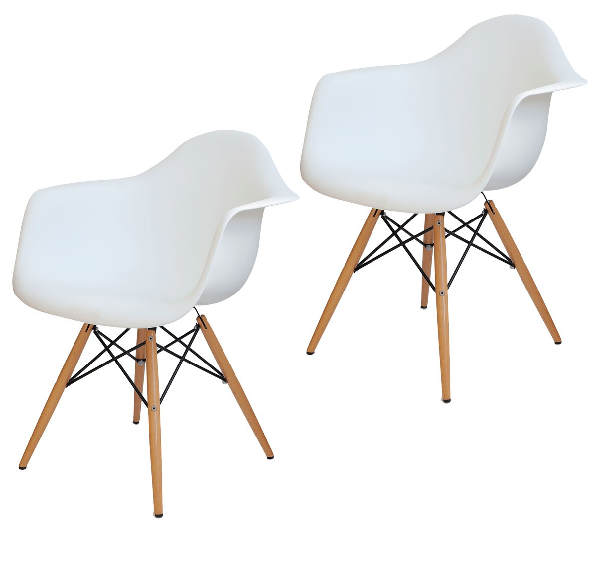 Kit 2x Cadeira Eames Daw PP Branca wood - Black Friday
