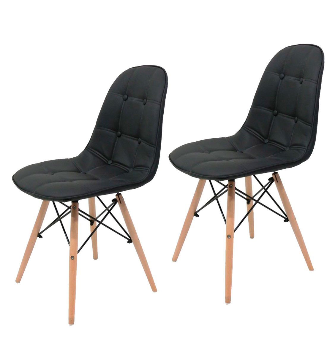 KIt 2x Cadeira Eames DSW Botone Preta - AQUECE BLACK FRIDAY