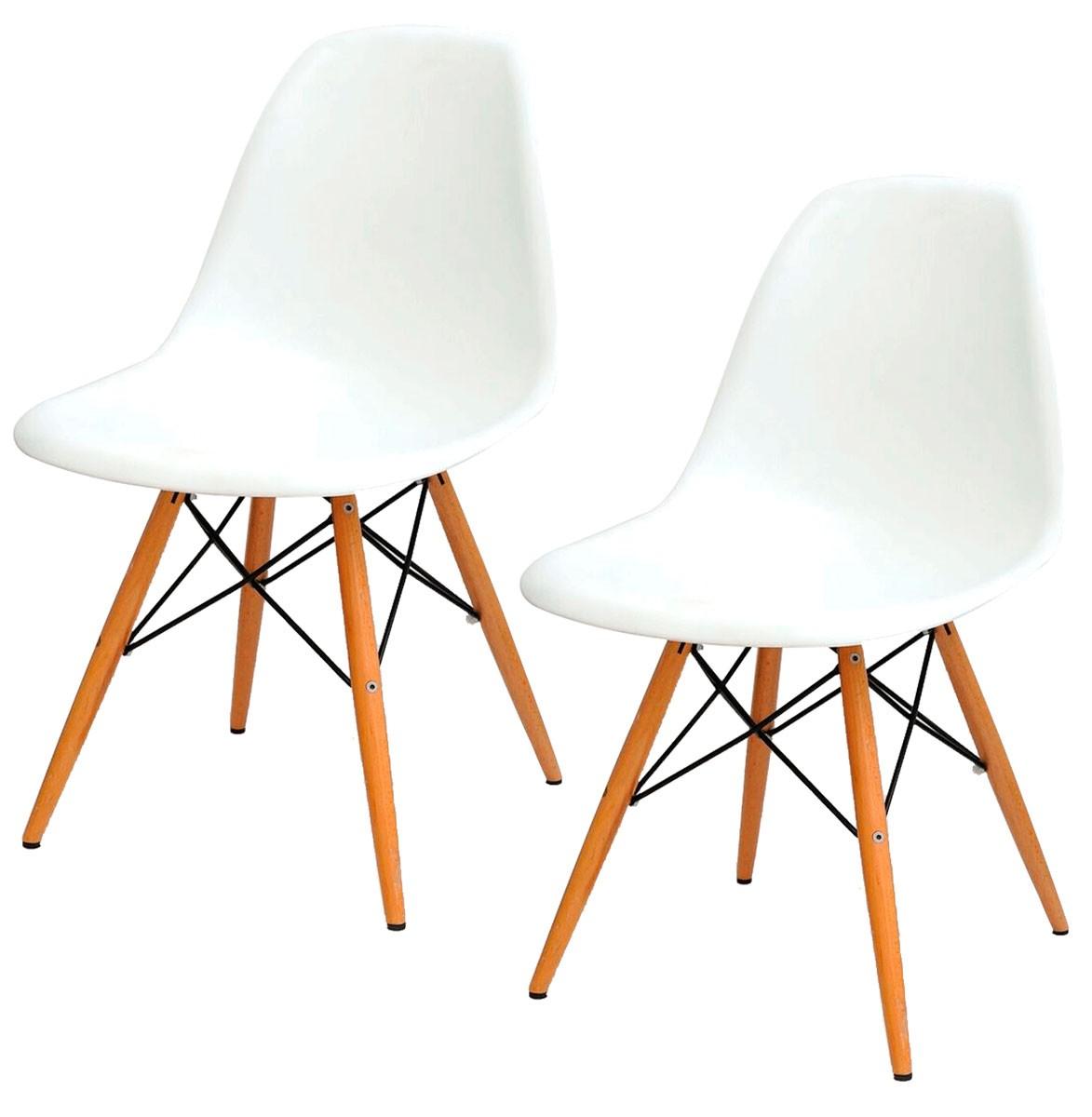 Kit 2x Cadeira Eames DSW Polipropileno Base Eiffel Madeira
