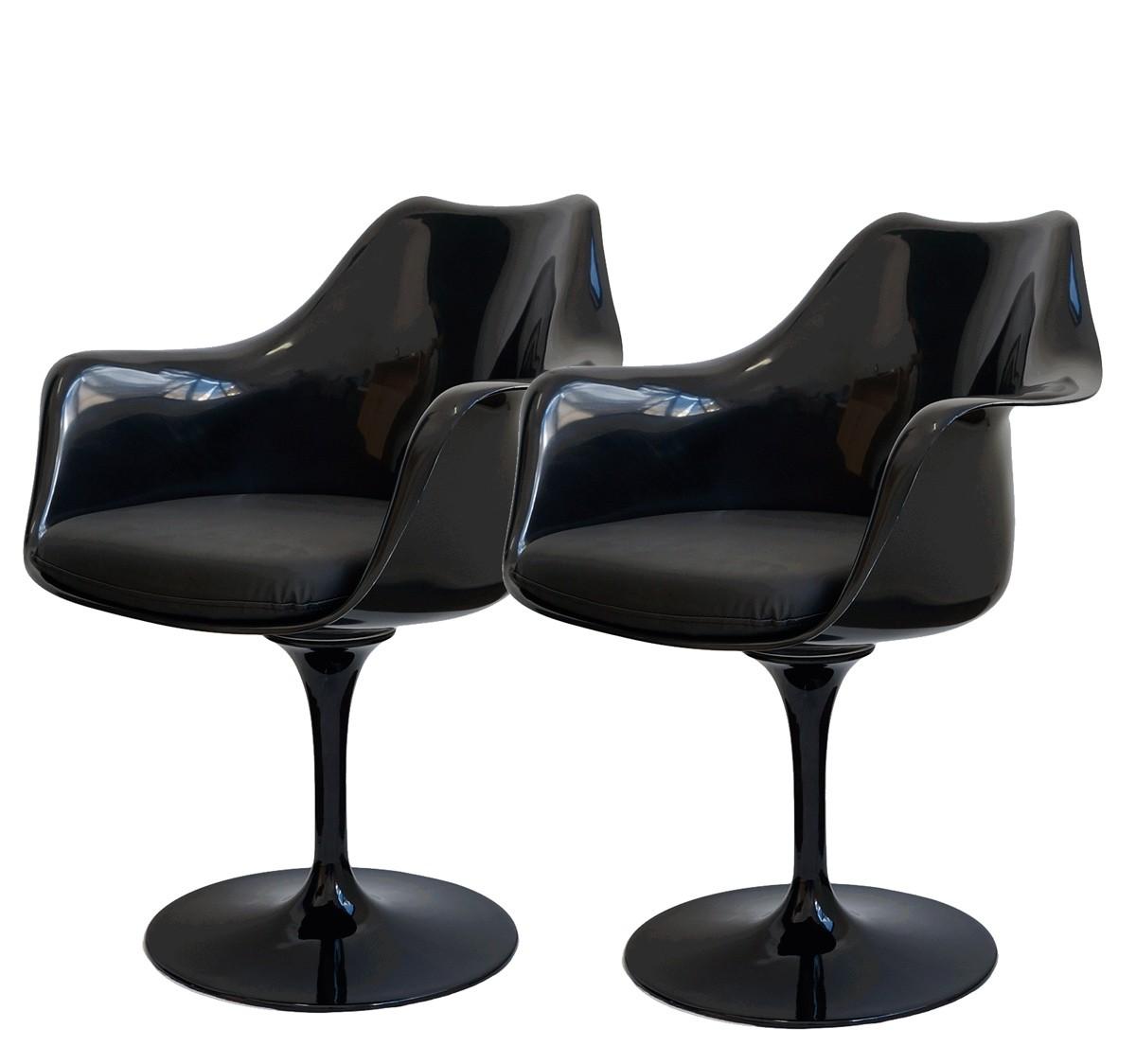 Kit 2x Cadeira Saarinen em ABS Preta com Braço e Base em Aluminio - Ponta de Estoque