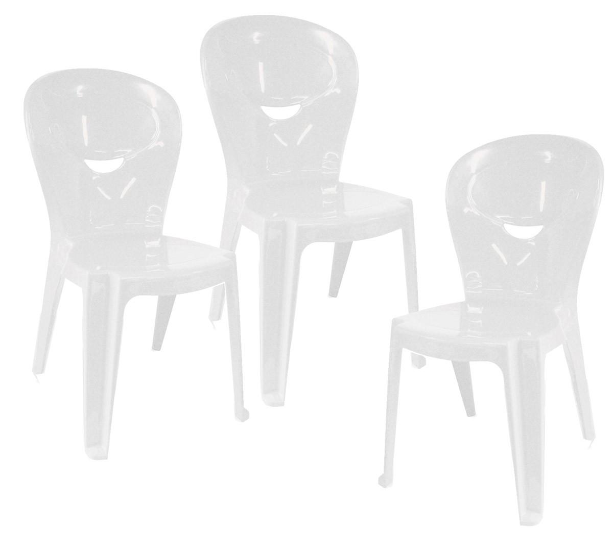 Kit 3 Cadeiras Infantil Vice Brancas - Ponta de estoque