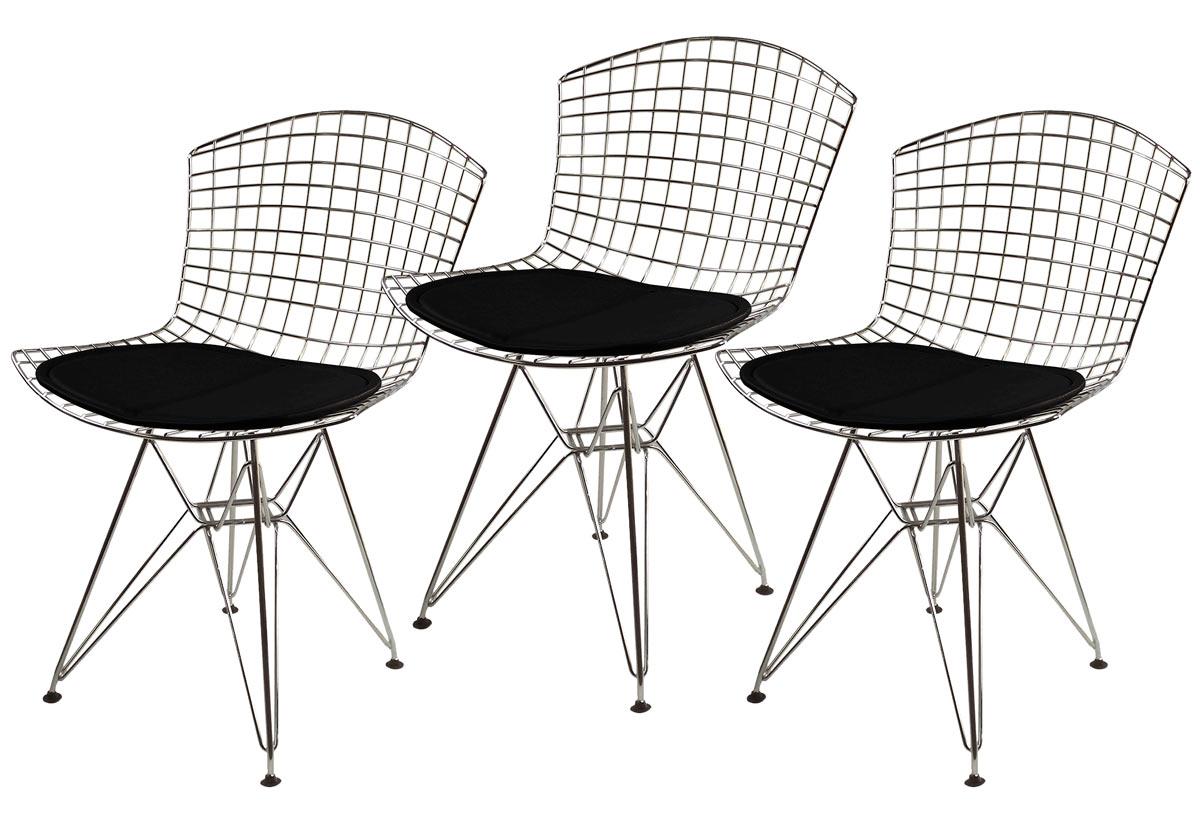Kit 3x Cadeira Bertoia DKR com Assento Preto Aço Inox - Black Friday