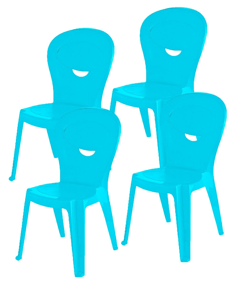 Kit 4 Cadeiras Infantil Vice Azul - Ponta de estoque