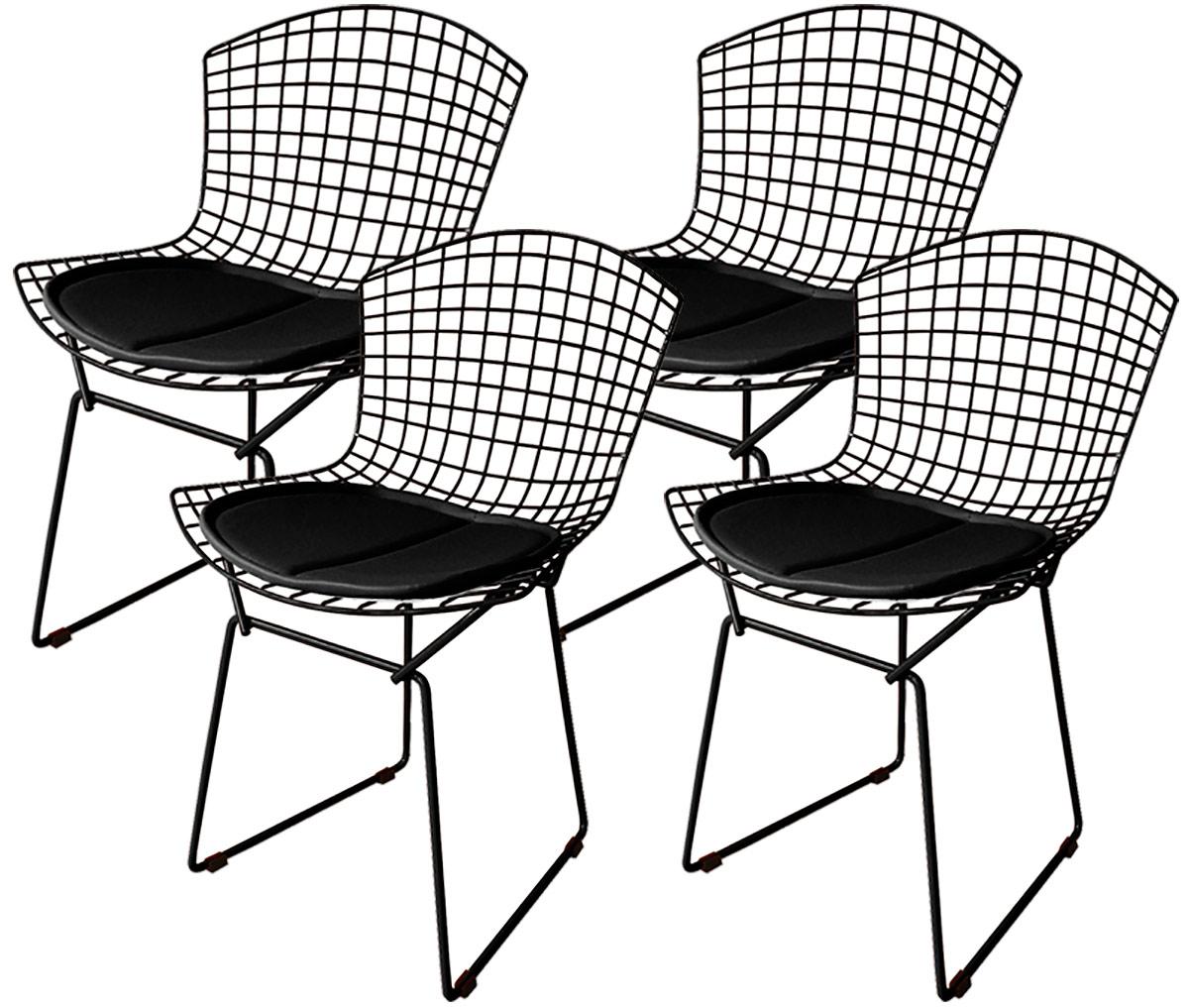 Kit 4x Cadeira Bertoia Tradicional Preta - Ponta de Estoque