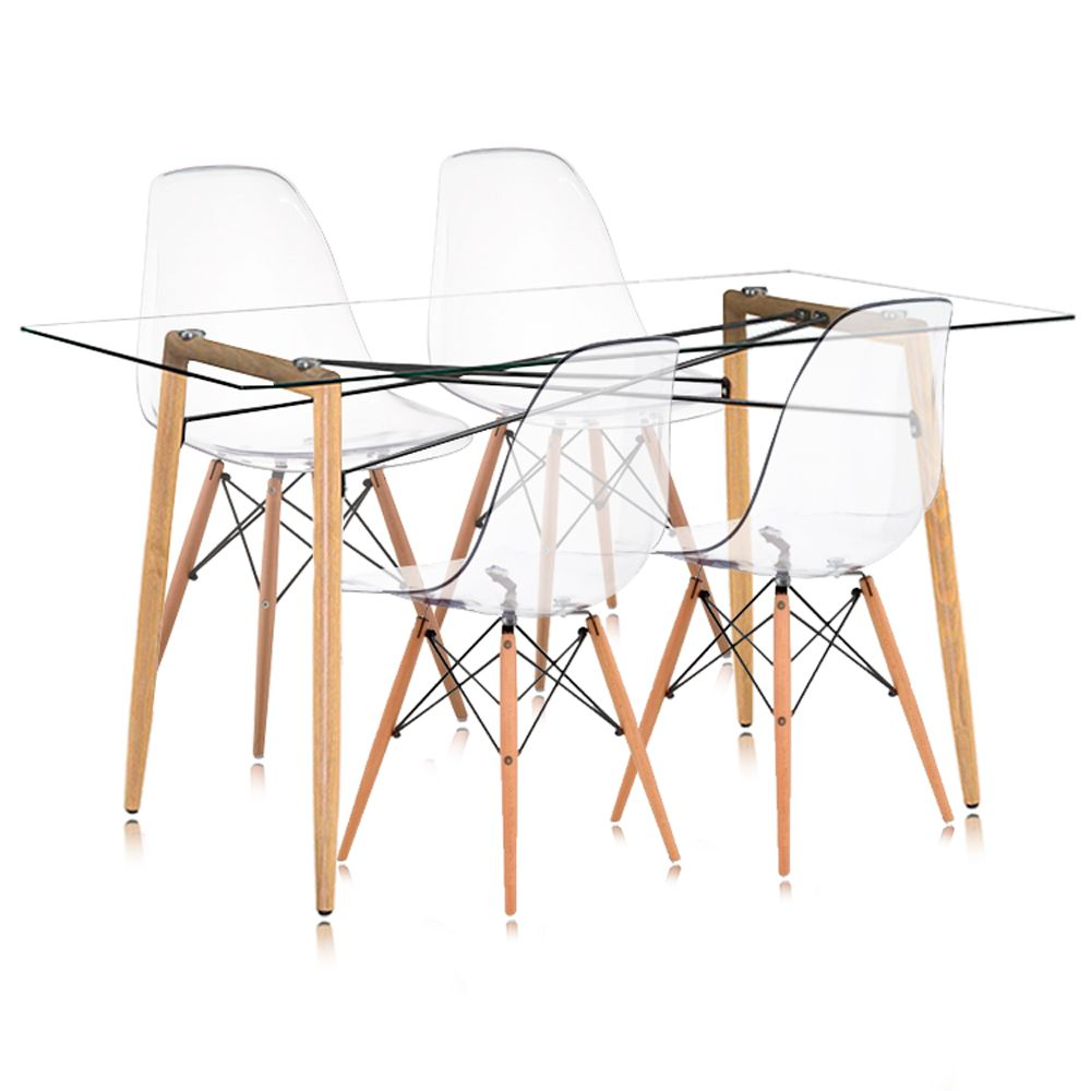 Kit Mesa Retangular e Cadeiras Charles Eames