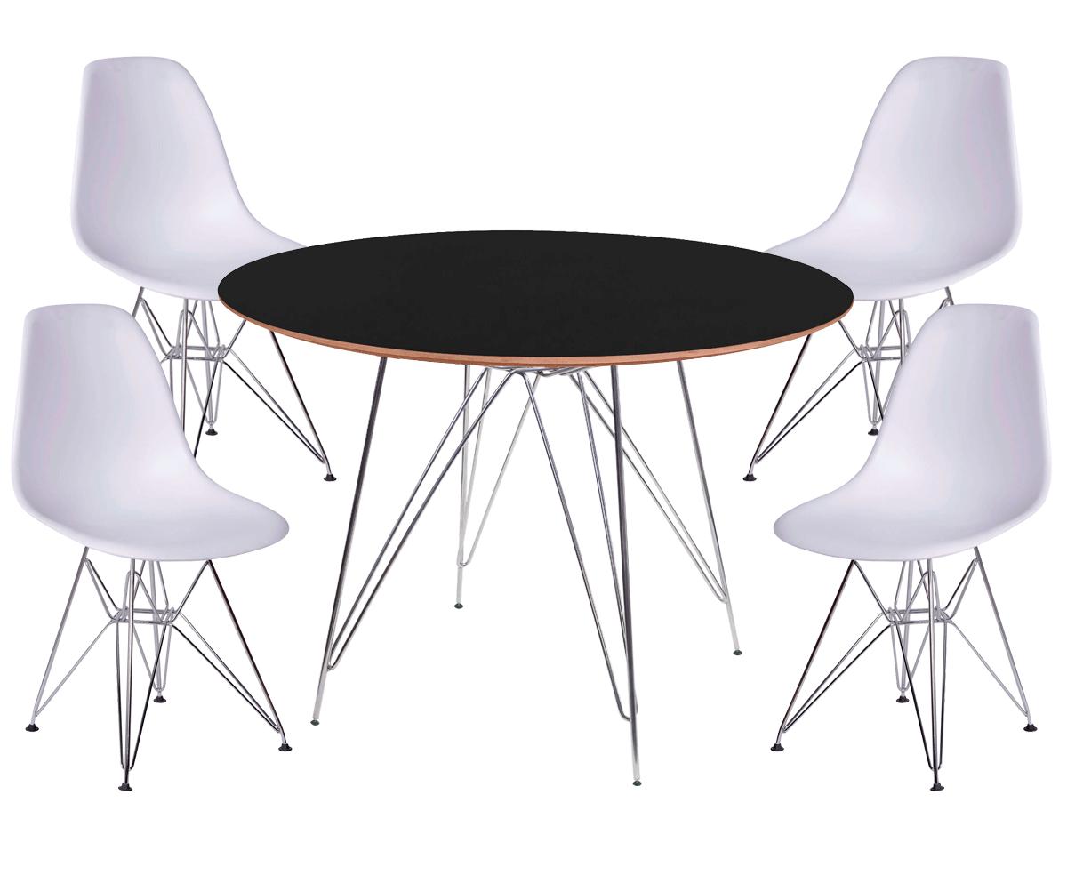 Kit Mesa Eames Cromada Tampo Preto de Madeira 100CM + 4 Cadeiras DSR Polipropileno