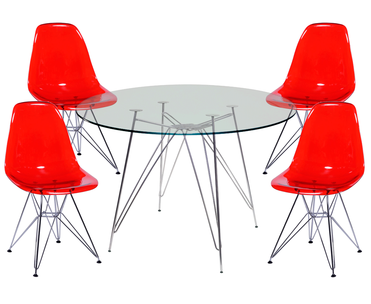 Kit Mesa Eames Cromada Tampo de Vidro 100CM + 4 Cadeiras DSR Policarbonato