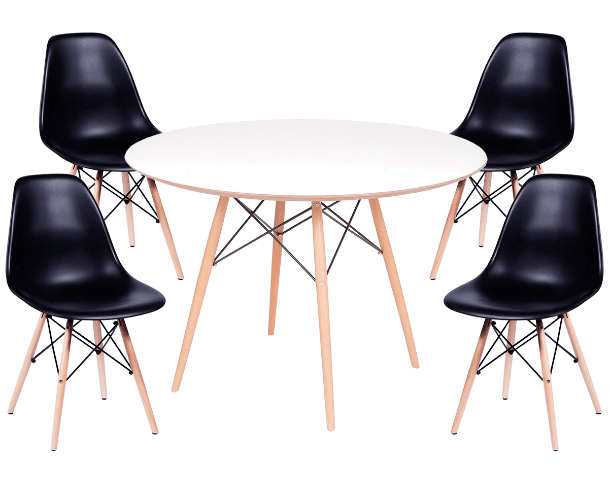 Kit Mesa Eames Wood Tampo de Madeira 100CM + 4 Cadeiras DSW Polipropileno