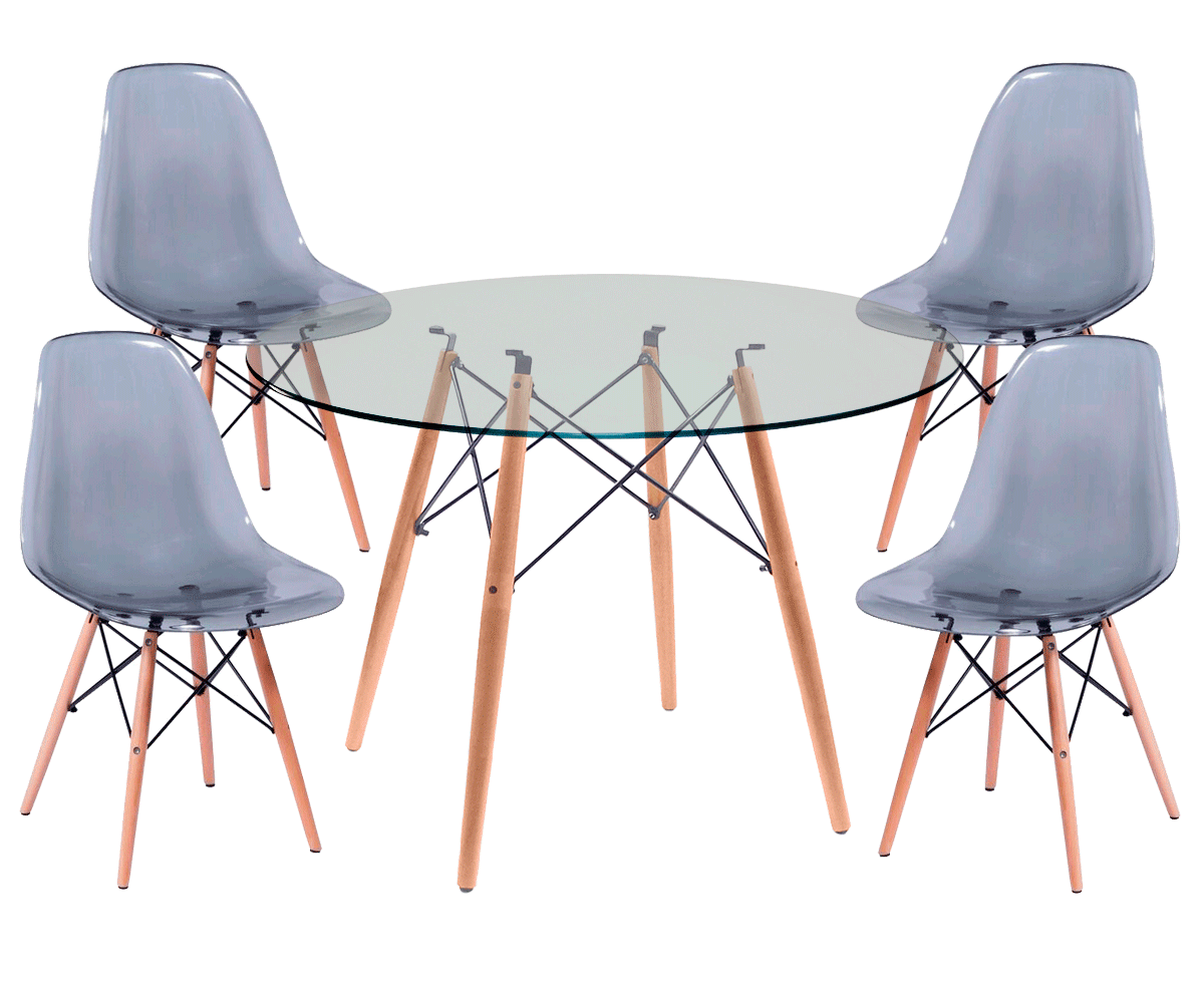 Kit Mesa Eames Wood Tampo de Vidro 100CM + 4 Cadeiras DSW Policarbonato
