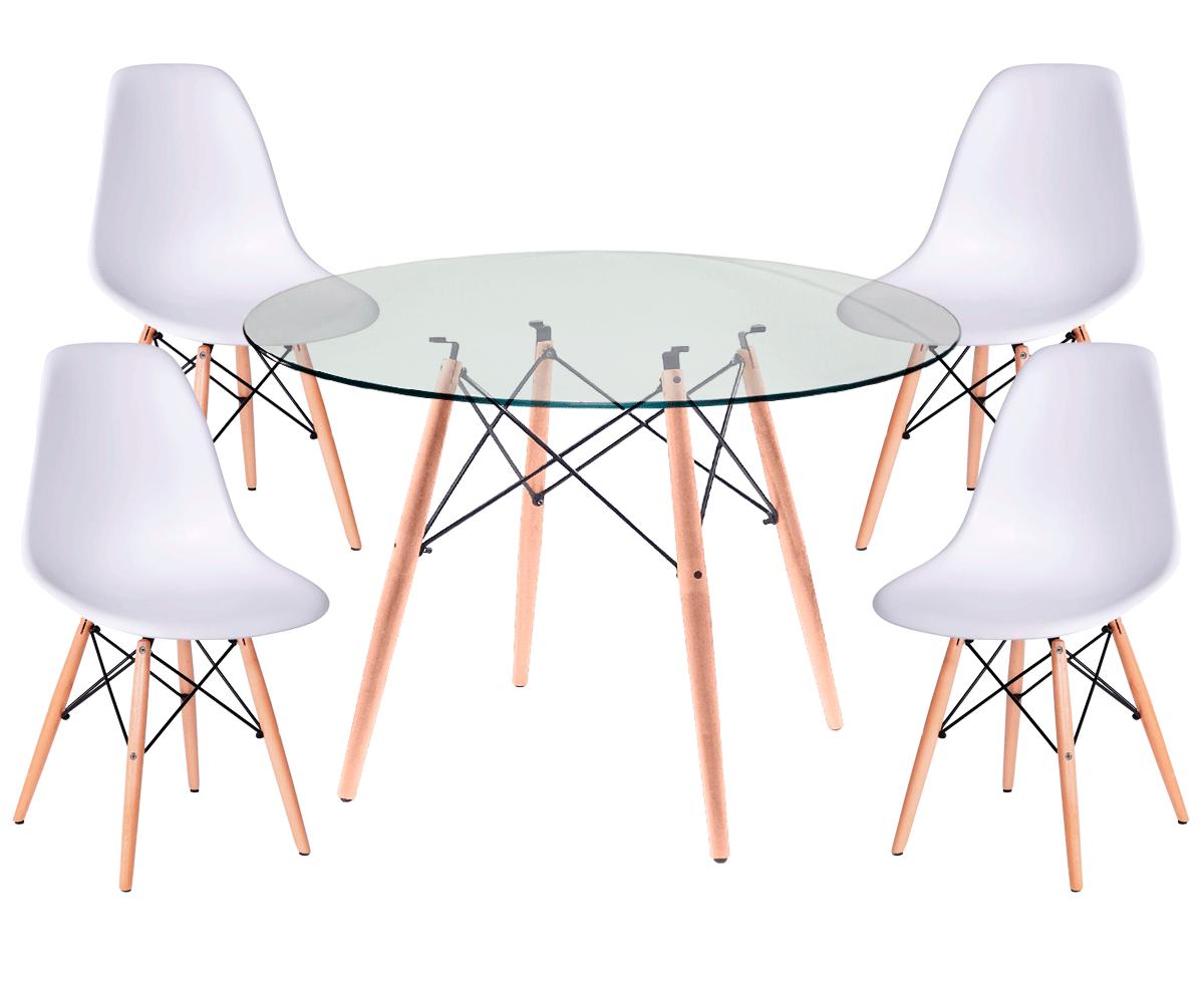 Kit Mesa Eames Wood Tampo de Vidro 100CM + 4 Cadeiras DSW Polipropileno