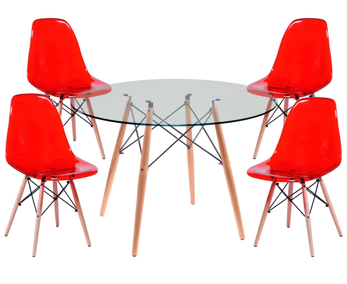 Kit Mesa Eames Wood Tampo de Vidro 120CM + 4 Cadeiras DSW Policarbonato