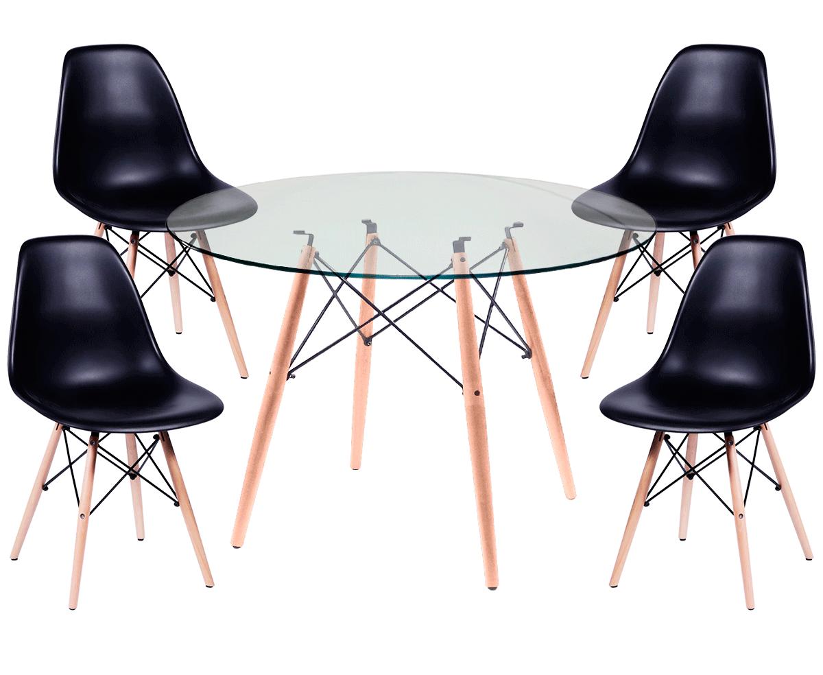 Kit Mesa Eames Wood Tampo de Vidro 120CM + 4 Cadeiras DSW Polipropileno