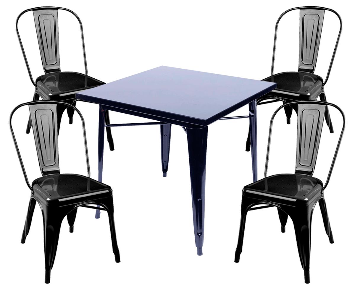 Kit Mesa Tolix + 4 Cadeiras Tolix Iron