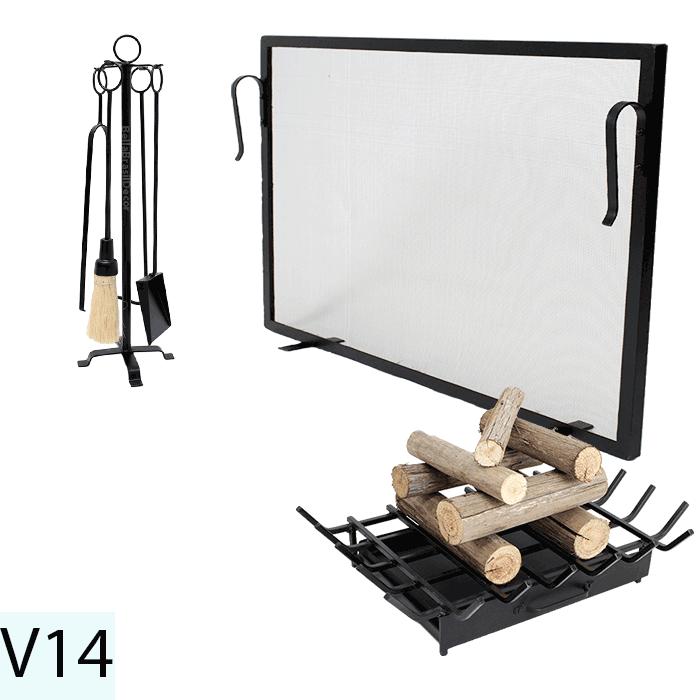 Kit Para Lareira Com Tela 80x60 e Acessorios - Codigo V14