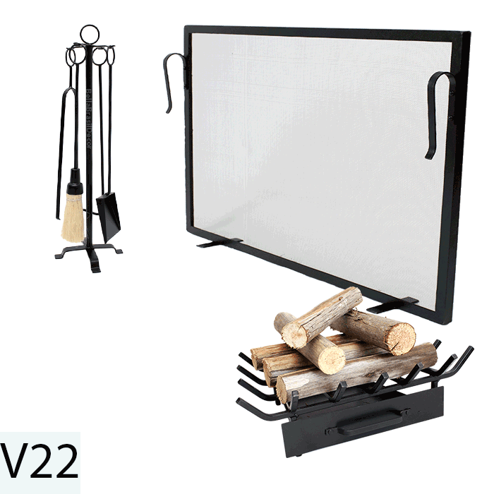 Kit Para Lareira Com Tela 80x60 e Acessorios - Codigo V22