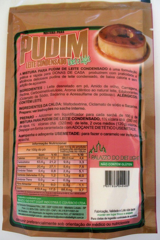 Mistura para Pudim Leite Condensado Diet Light - Família Doçurinha  - PALAZZO DO DIET LIGHT
