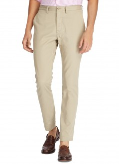 Calça Ralph Lauren de Sarja Chino Masculina Stretch Slim Fit Valley Tan Areia