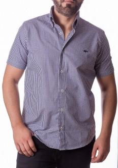 Camisa Lacoste Masculina Manga Curta Regular Fit Quadriculada Azul