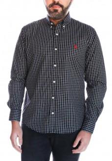Camisa Ralph Lauren Masculina Slim Fit Checkered xadrez Preto e Branco
