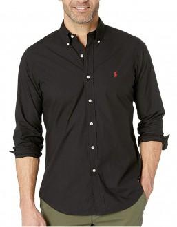 Camisa Ralph Lauren Masculina Custom Fit Cotton Oxford Preto