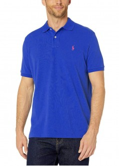 Polo Ralph Lauren Masculina Slim Fit Azul Bic Bordado Rosa