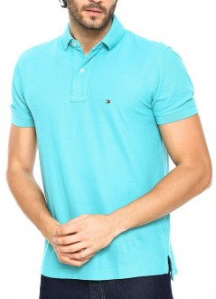 Camisa Polo Tommy Hilfiger Custom Fit Azul Claro