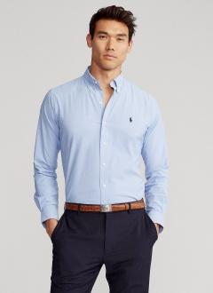 Camisa Ralph Lauren Masculina Custom Fit Classic Azul Aço