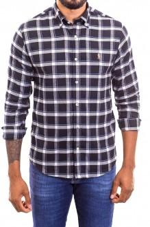 Camisa Ralph Lauren Masculina Custom Fit  Logo Colored Xadrez Flanelada Preto