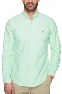Camisa Ralph Lauren Masculina Custom Fit Oxford Verde Claro Colored