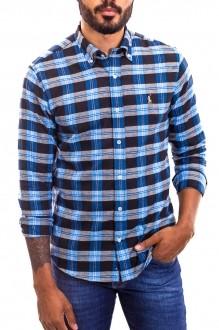 Camisa Ralph Lauren Masculina Custom Fit Checkered Xadrez Color Icon Azul Claro