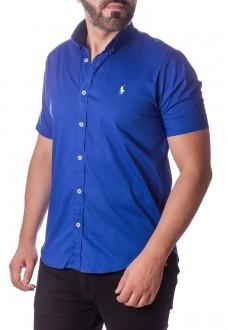 Camisa Ralph Lauren Masculina Manga Curta Custom Fit Algodão Strech Azul